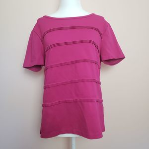 JCrew Hot Pink Pleated Short Sleeve Top Size L